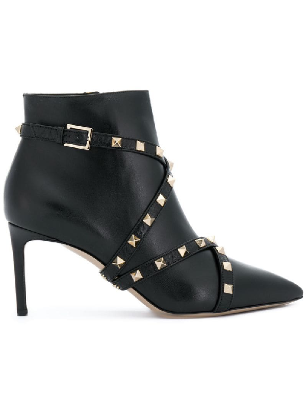 Valentino Rockstud Wrapped Leather Ankle Boot In Black