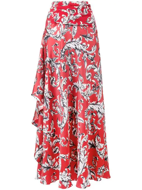 Jw Anderson Opening Ceremony Filigree Print Asymmetric Maxi Skirt In Cherry