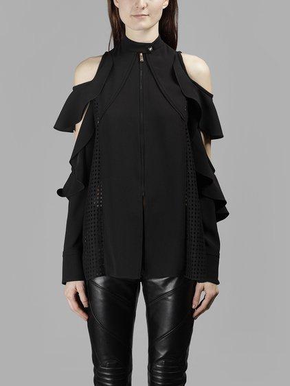 Versace Women's Black Ruffled Sleeves Shirt