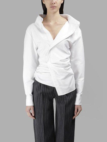 08d2e88aa5e Jacquemus Women s White Shirt With Big Shoulders La Chemise Elie ...
