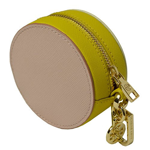 7ee0310b249 Tory Burch York Color Block Circle Pouch Coin Case Leather Key Fob In White  Yellow