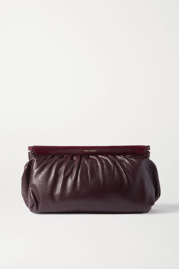 Isabel Marant Luz Studded Leather Clutch In Burgundy
