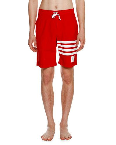 9b3bcee6d4 Thom Browne Printed Stripes Nylon Swim Shorts In Red | ModeSens