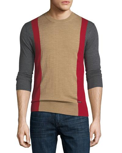 Dsquared2 Colour Block Wool Sweater In Beige