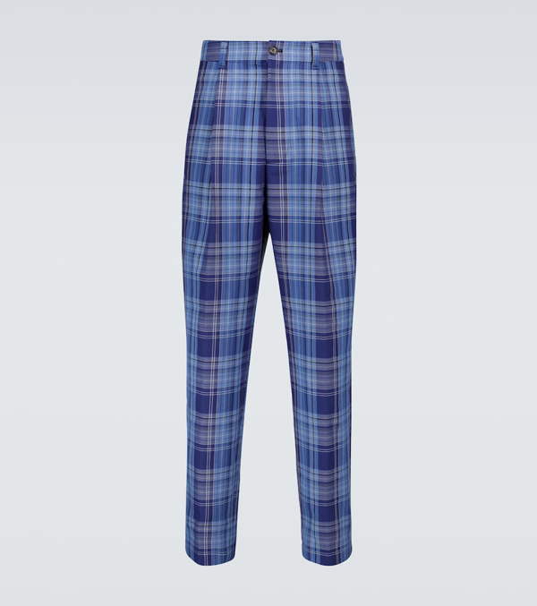 Acne Studios Pino Wide-leg Checked Pants In Blue