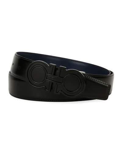 2d3f71dff Salvatore Ferragamo Futuristic Reversible Leather Gancini Belt, Black/Blue