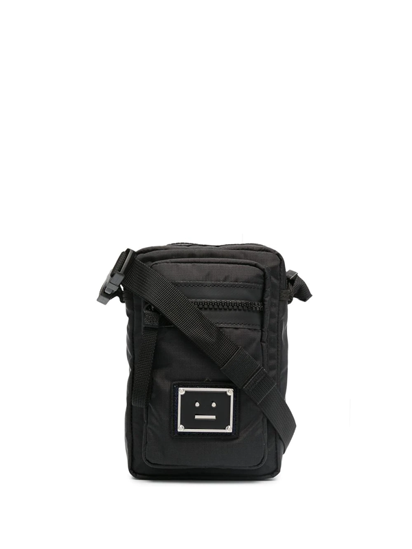 Acne Studios Logo-appliquéd Ripstop Messenger Bag In Black