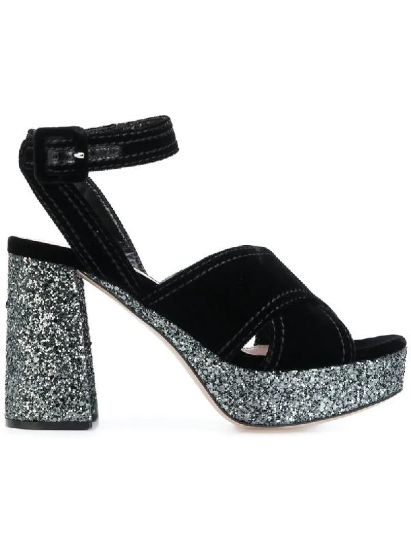 40c2d684ba6 Miu Miu Velvet And Glitter-Covered Platform Sandals In N11 Nero+Ardesia