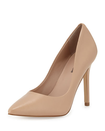 Neiman Marcus Prestige Leather Pointed-toe Pump, Nude
