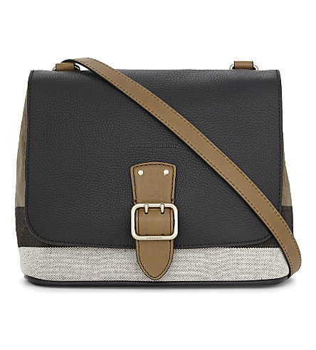 57c661d01988 Burberry Shellwood Canvas   Leather Cross-Body Bag In Black