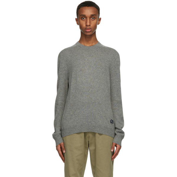 Gucci Grey Cashmere Gg Sweater In 1037 Grey/m