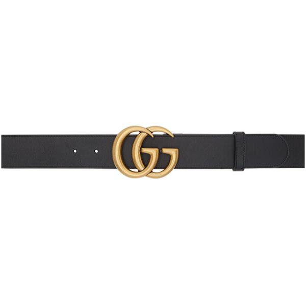 Gucci Black Gg Marmont Belt In 1000 Blck