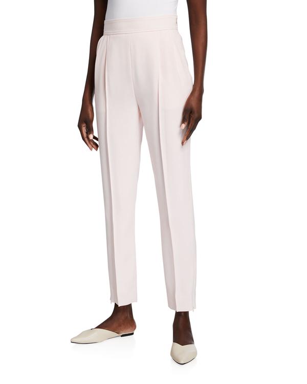Adeam Dahlia Zip-cuff Cropped Crepe Pants In Powder Pink