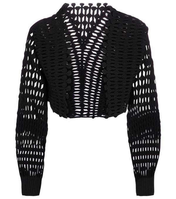 Alaïa Open Crochet Fringe-trim Cropped Jacket In Black