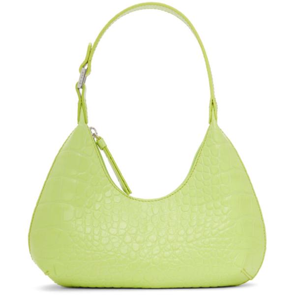 By Far Baby Amber Crocodile-effect Leather Shoulder Bag In Mtc Matcha