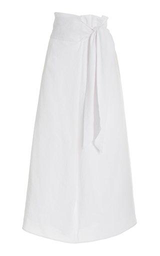 Vince Women's Tie-front Linen-blend Maxi Skirt In Optic White