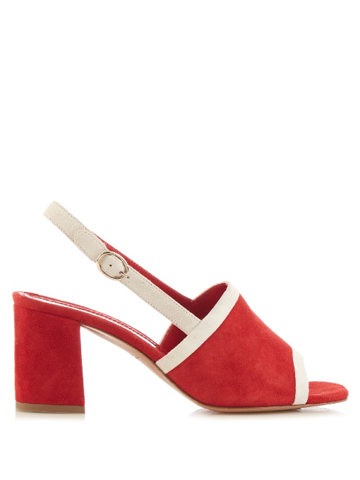 Mansur Gavriel Bi-Colour Suede Block-Heel Sandals In Red