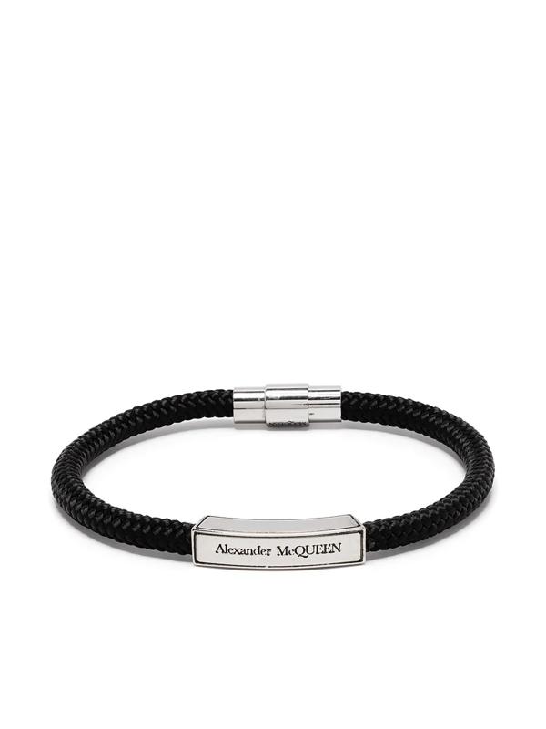 Alexander Mcqueen Logo-engraved Plaque Bracelet In Black
