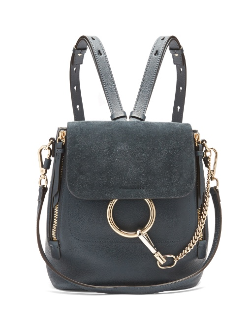 9a27f3e7643a ChloÉ Faye Small Leather Suede Backpack In Blue