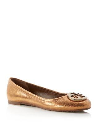 Tory Burch Sequin-embossed Reva Ballet Flats In Copper