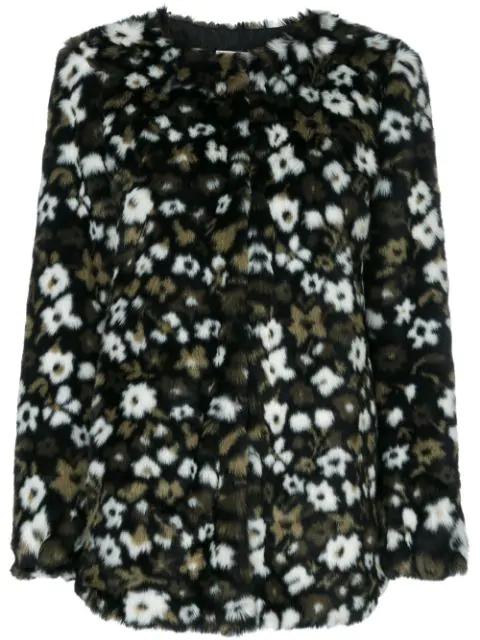 Michael Michael Kors Floral Faux Fur Jacquard Jacket In Black