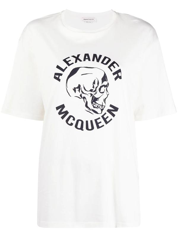 Alexander Mcqueen Skull Printed Cotton Jersey T-shirt In White
