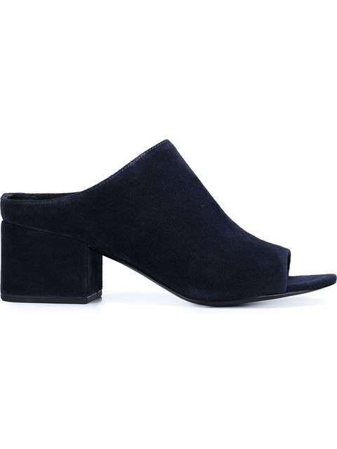 3.1 Phillip Lim Navy Suede Cube Mules In Blue