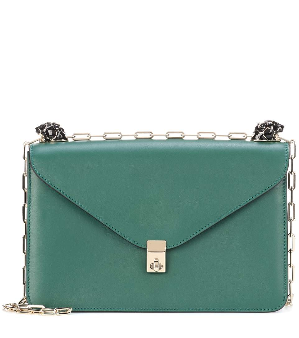 ff9323aa32c Valentino Garavani Enamel Panther Leather Shoulder Bag In Emerald ...