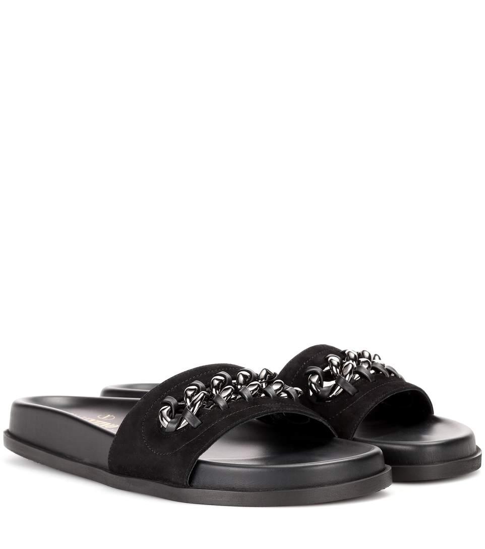 Valentino Suede Slides In Black