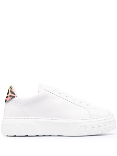 Casadei Leopard Print Panel Lace-up Sneakers In White