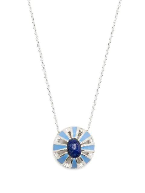Akansha Sethi Lapis Lazuli Enamel Button Necklace In Silver