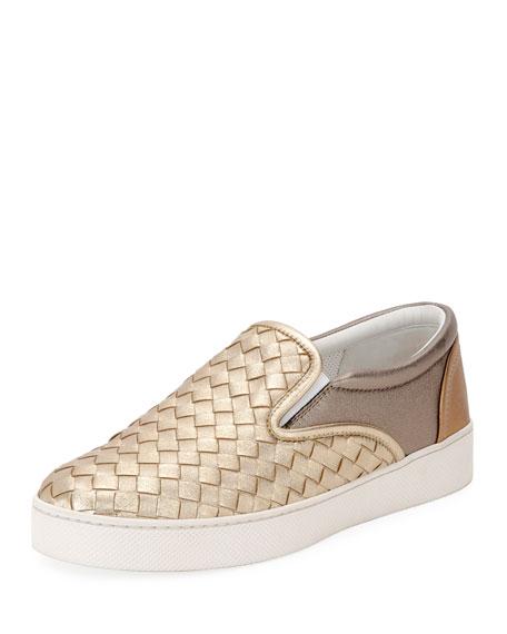 8c8de120eed Bottega Veneta Multicolour Intrecciato Nappa Laminata Dodger Sneaker In Gold
