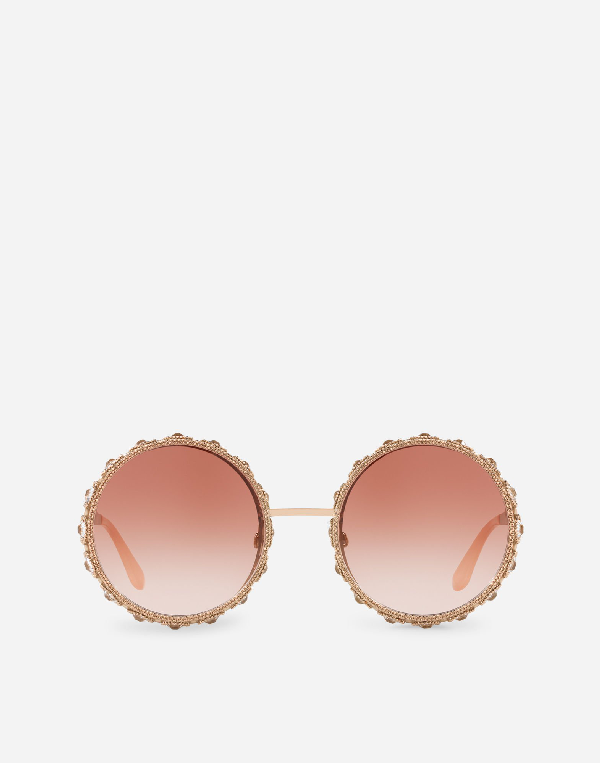 a9d05484e517 Dolce   Gabbana Swarovski Crystal-Embellished Round-Frame Rose Gold-Tone  Sunglasses In