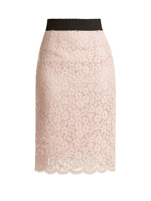 bf4c06bf98 Dolce & Gabbana Corded Cotton-Blend Lace Midi Skirt In Light Pink ...