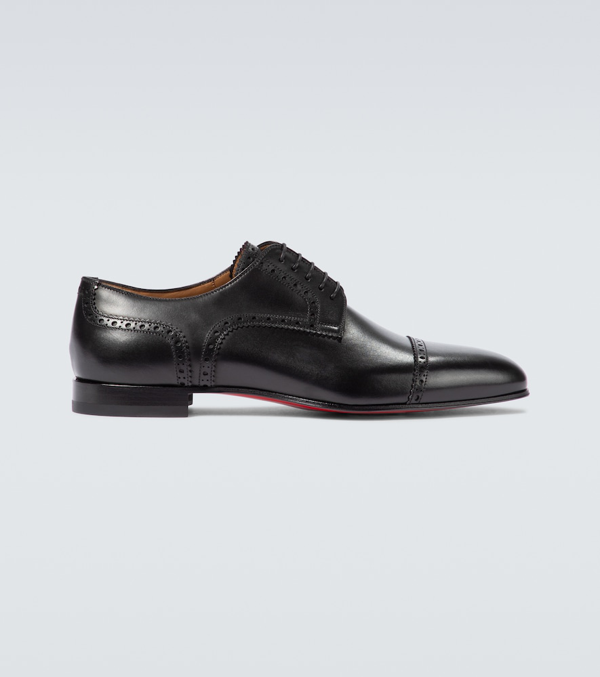 Christian Louboutin Eygeny Flat Leather Derby Shoes In Black