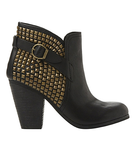 Steve Madden Alani Studded Cowboy Boots In Black-leather