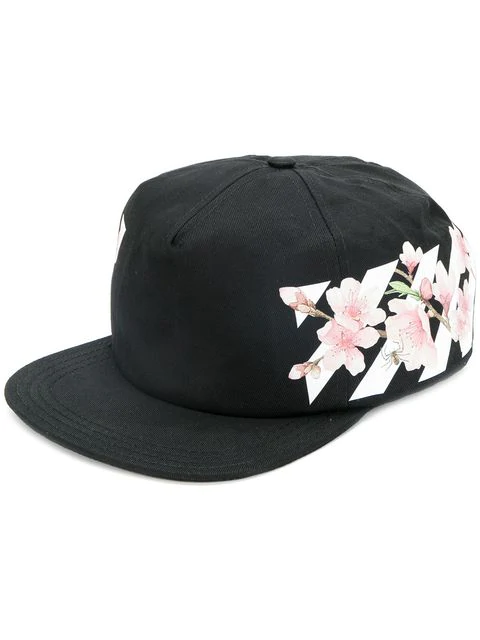 6af7d1c3ecd1f8 Off-White Cherry Flowers & Stripes Baseball Hat In Black | ModeSens