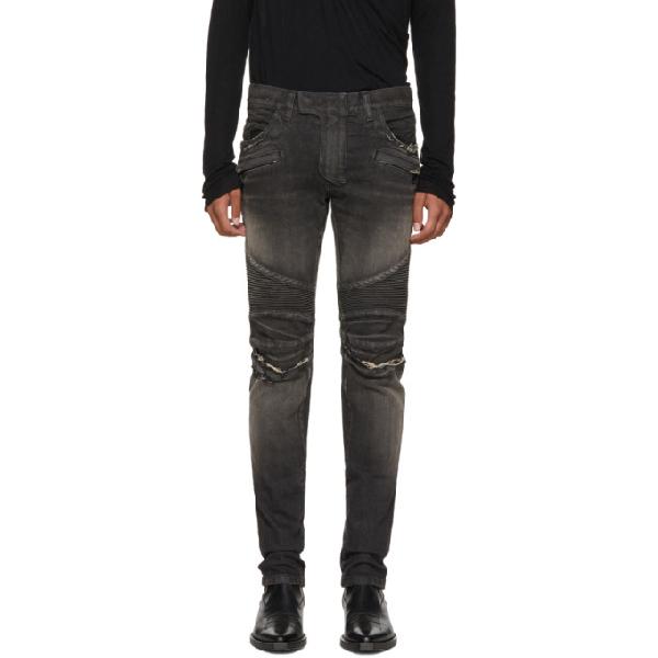 9c4b9eef Balmain Slim-Fit Distressed Denim Biker Jeans In Noir 176 | ModeSens