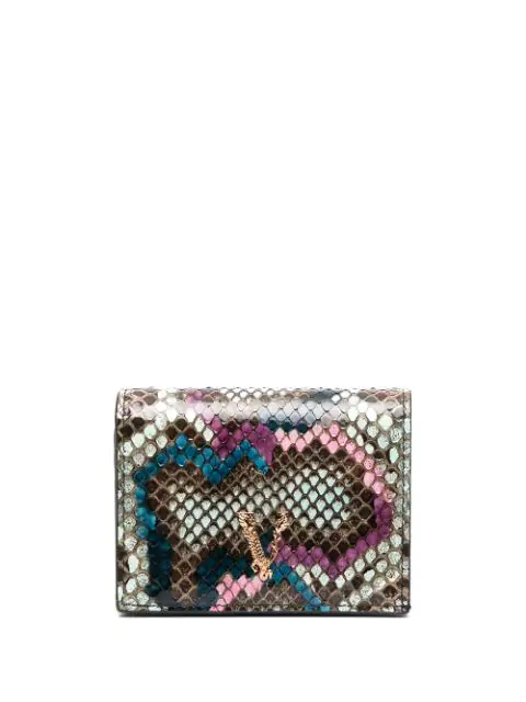 Versace Virtus Python Bifold Wallet In Blue