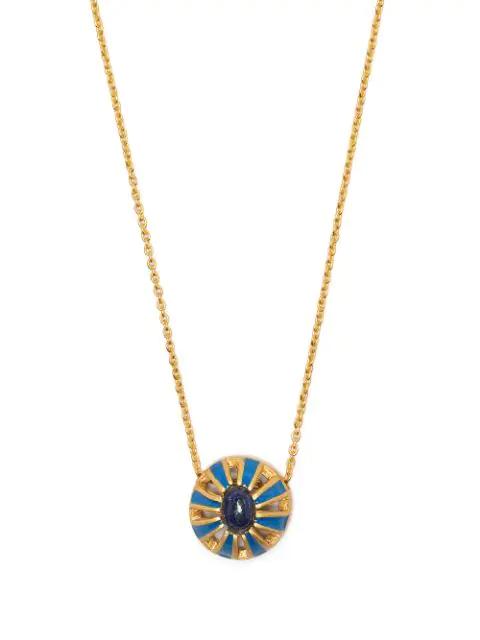 Akansha Sethi Enamel And Lapis Button Necklace In Gold