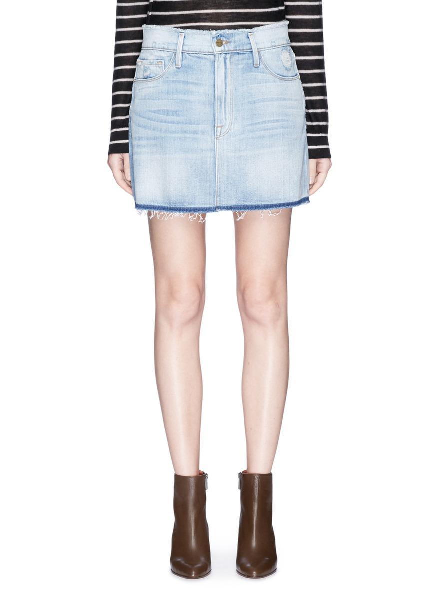 087337921 Frame 'Le Mini' Frayed Denim Skirt | ModeSens