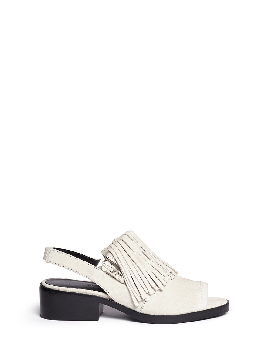 'alexa' Fringed Suede Sandal Booties In Grey