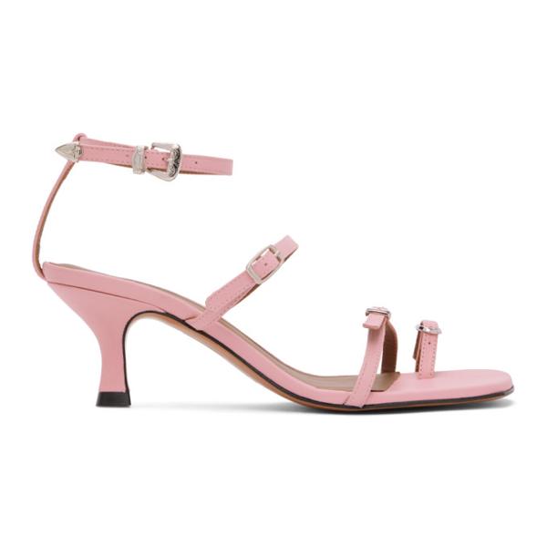 Abra Ssense Exclusive Pink Buckle Heeled Sandals