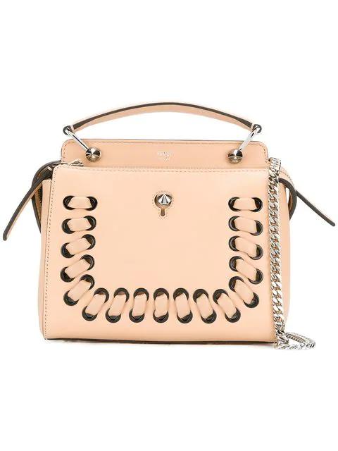 8c3569b5489e Fendi Dotcom Click Whipstitch Leather Shoulder Bag In Neutrals ...