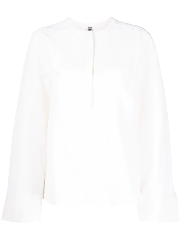 Totême Band-collar Long-sleeved Blouse In Neutrals