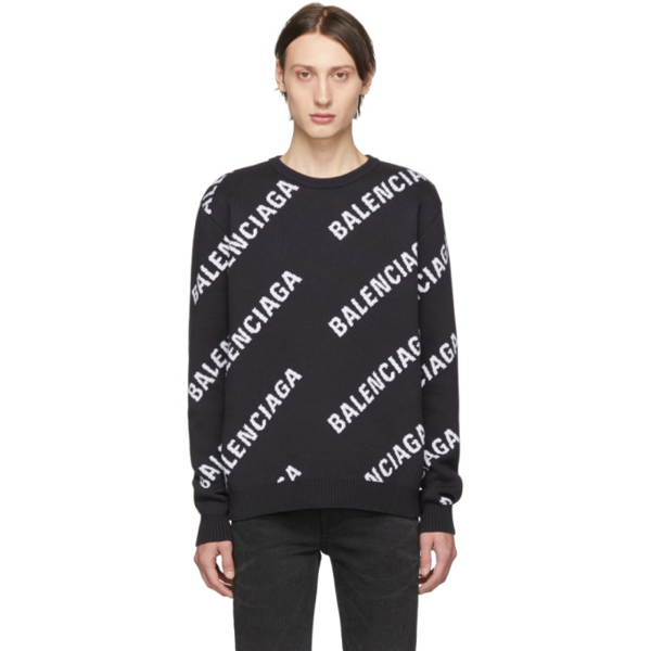 Balenciaga Branded Sweater In 4170 Nvywht