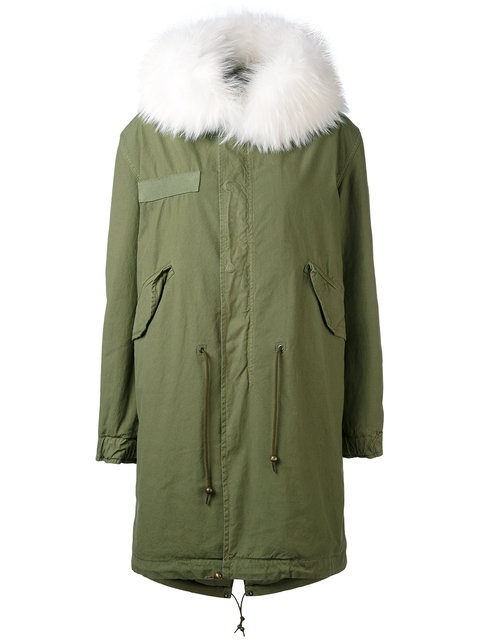 Mr & Mrs Italy Green & White Fur Long Parka