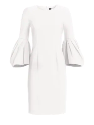 Carolina Herrera Blouson-sleeve Cocktail Sheath Dress In White