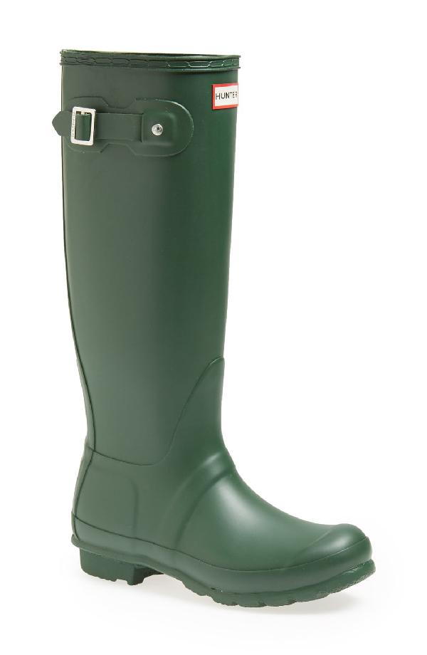 Hunter Original Tall Adjustable Back Waterproof Rain Boot In Hueter Greee
