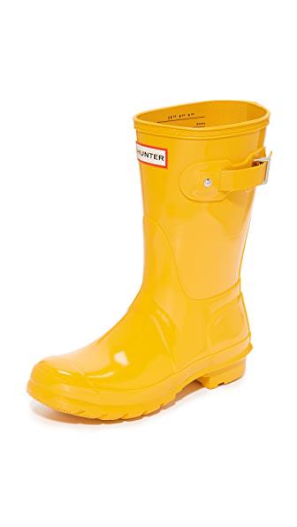 Hunter Women's Original Short Gloss Rain Boots In Yellow